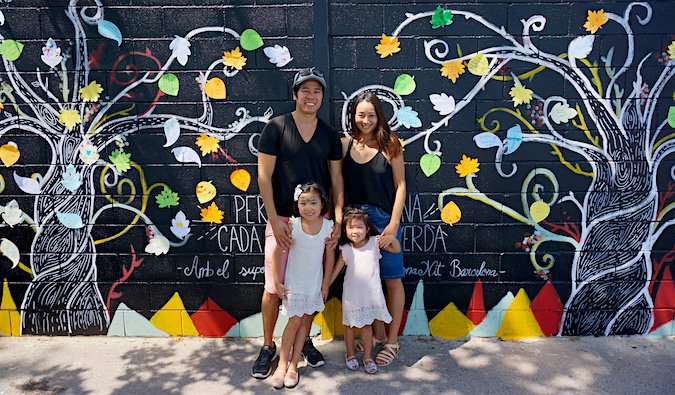 Family of four while on their travels in Spain