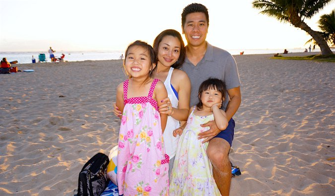Cliff's family on vacation on the beach