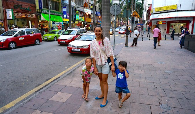 Cliff's family exploring one of many cities on their round-the-world trip