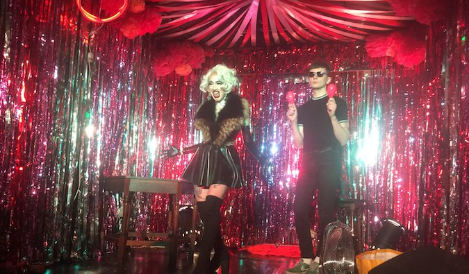 LGBT drag show in a club overseas where to meet other gay travelers