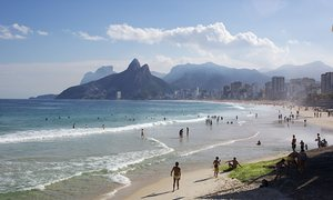 The view along Ipanema and Leblon beaches, from near Azul Marinho, Arpoador.