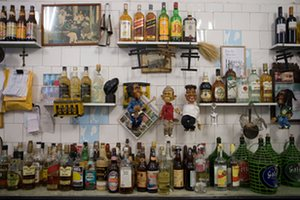 Bottles of spirits and liquor in Bar do Mineiro in Santa Teresa, Rio de Janeiro