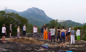 A class at the Ulpotha yoga retreat.