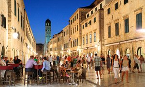 Diners on an Old Town street in Dubrovnik