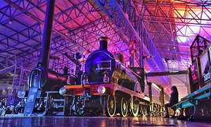"""Locos in a Different Light"" installation in the National Railway Museum in York"