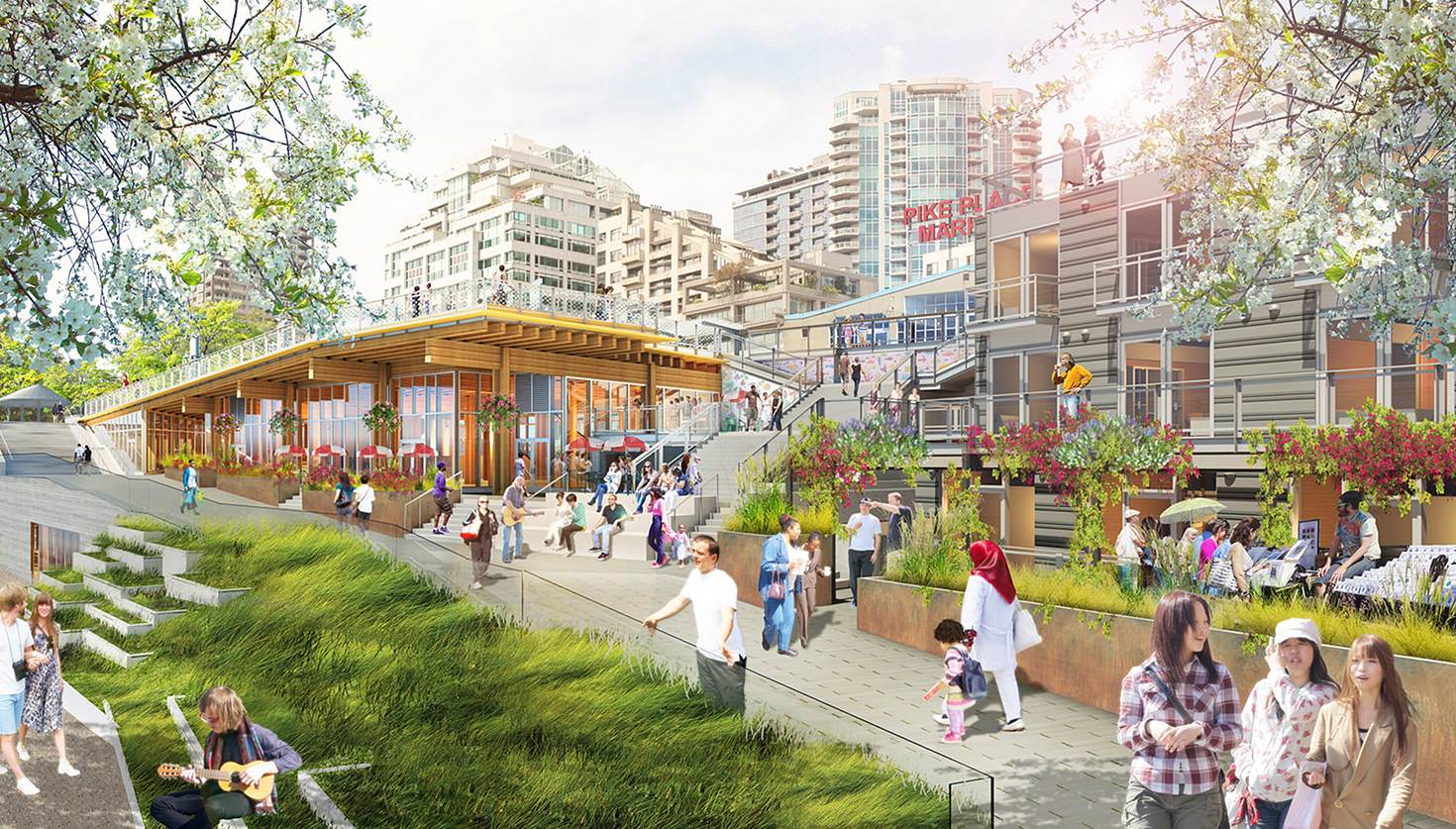 An artist's view of the new Market Front © The Miller Hull Partnership