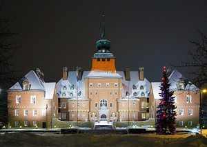 City Hall in Ostersund at winter evening, Åre-Östersund, Sweden