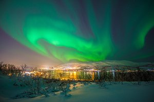 The northern lights over Tromsø, Northern Norway