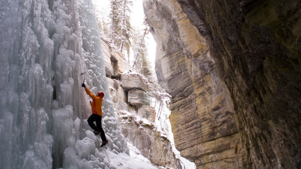 The narrows of Maligne Canyon in Jasper National Park.