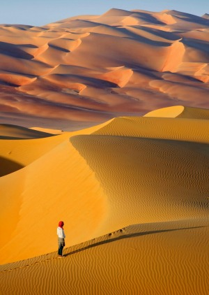 The sand dunes of the Rub Al Khali desert.
