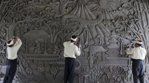 Stone carving in the foyer of the John Hardy Workshop, Ubud, Bali.